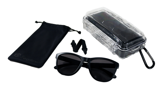 The Seafarer Sunglasses were designed for water sports. They feature floating frames, a removable strap that is adjustable, polarized lenses, and a hard plastic case with a microfiber pouch.