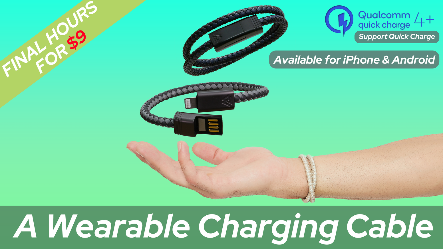 Kickstarter's Most Popular Charging CabIe Bracelet // Support QC 4.0 // Up To 3.0A Fast Charging // Always On the Go!