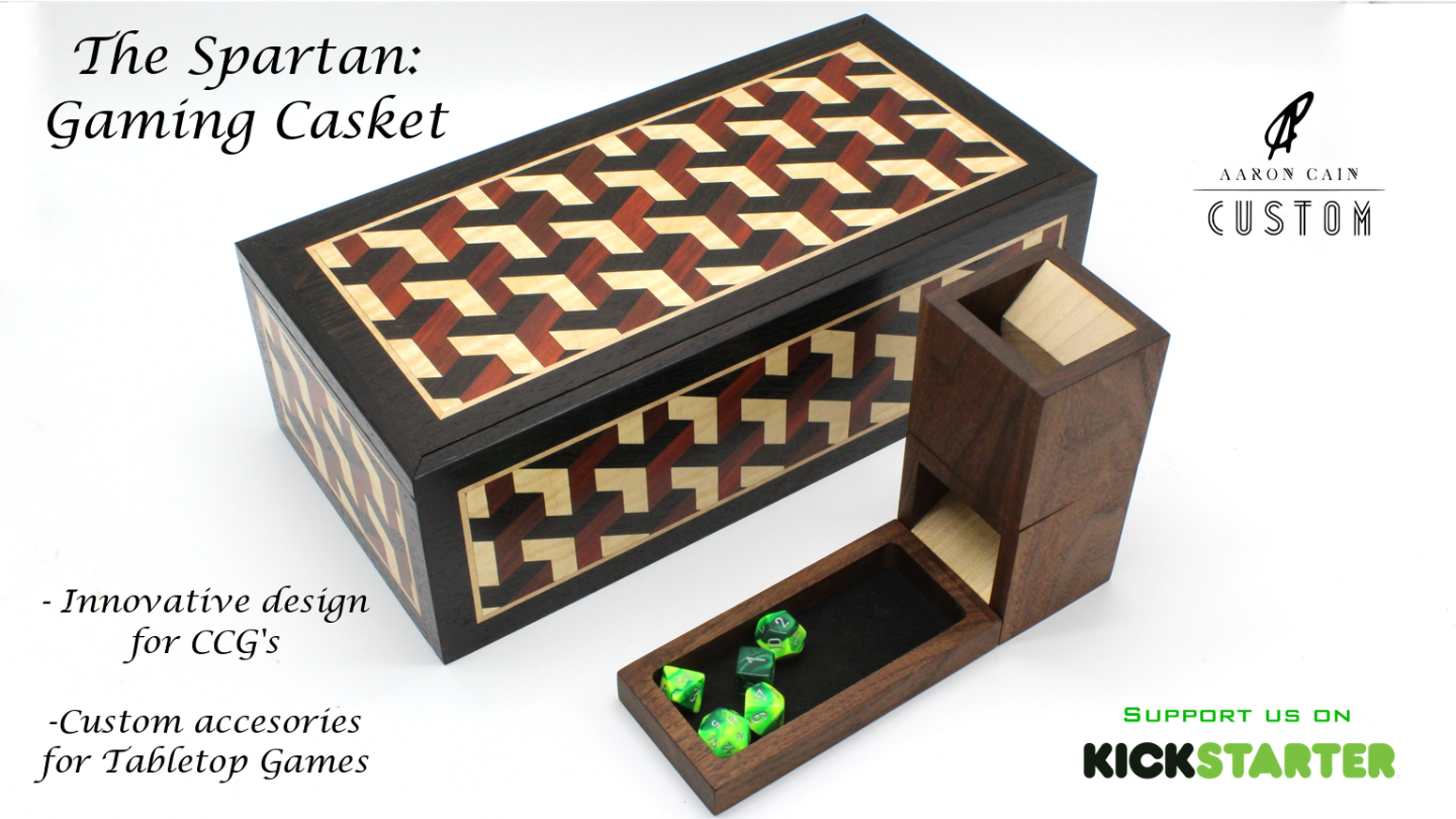 The Spartan: gaming casket is an innovative way to store and transport your CCG cube or other table top games and accessories.