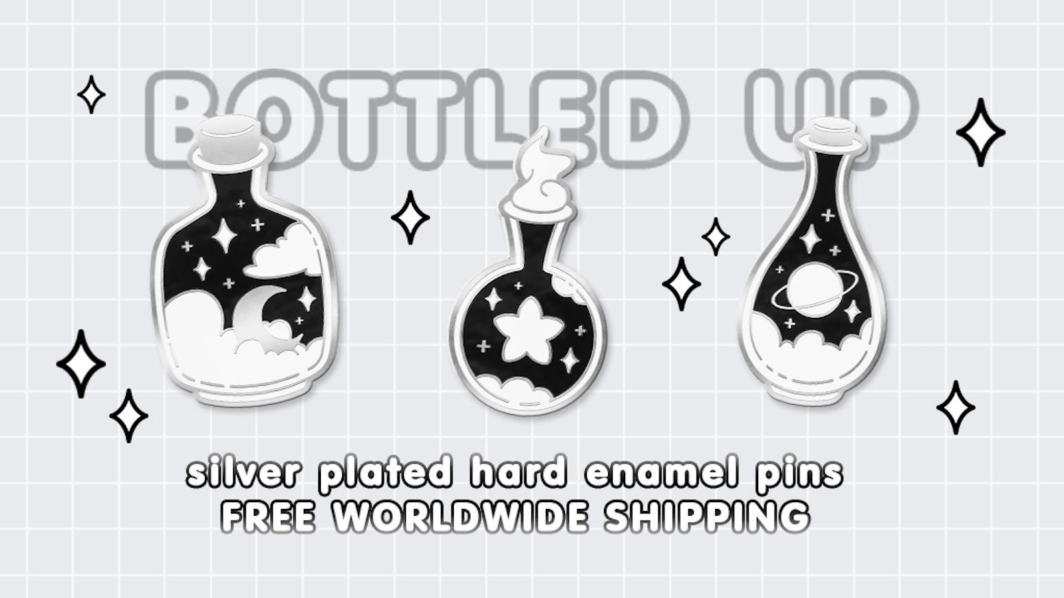Hard enamel pin series featuring dreamy space bottle designs