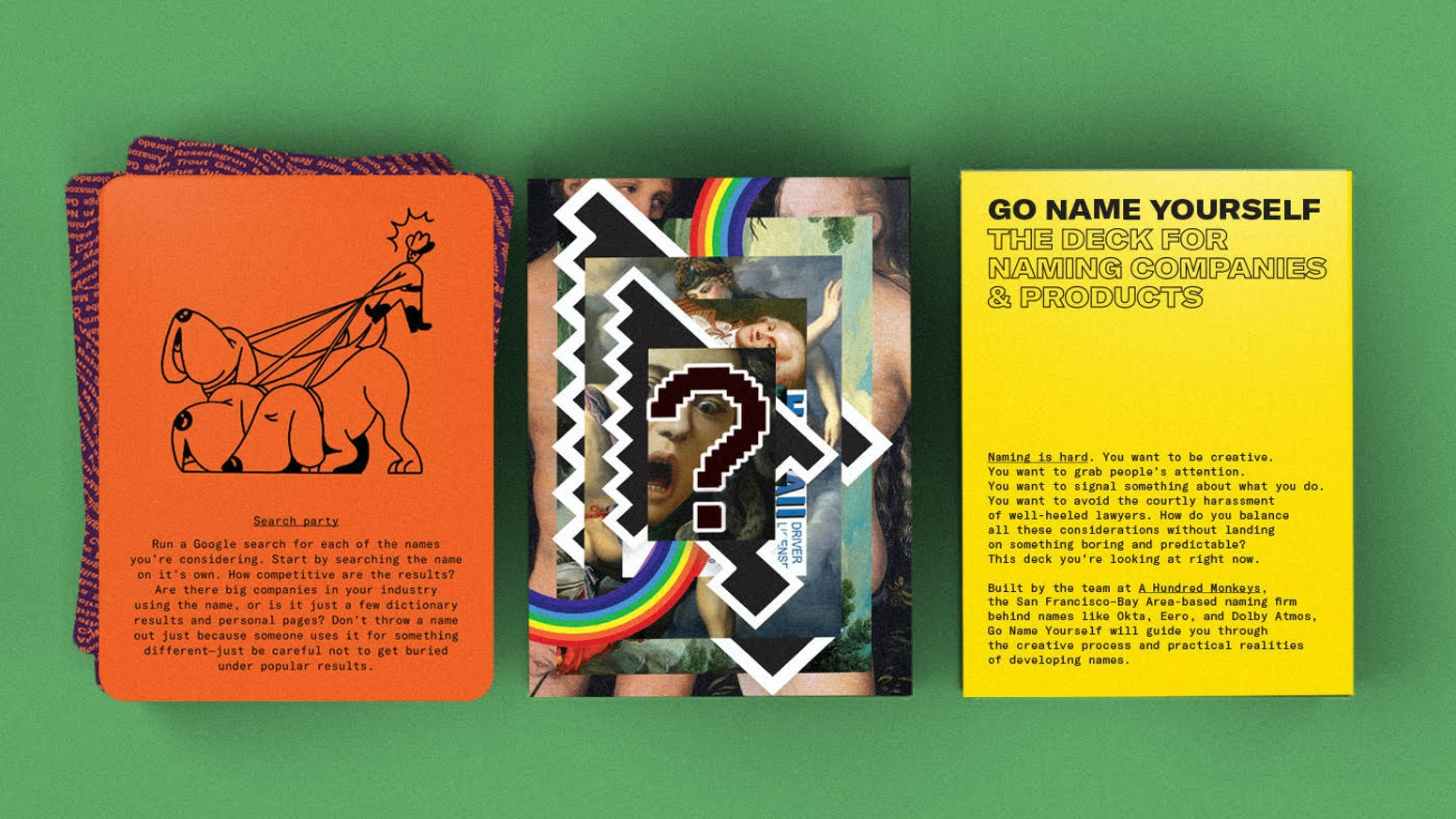 90 cards to guide any naming process. Created by A Hundred Monkeys and designed by Out Of Office