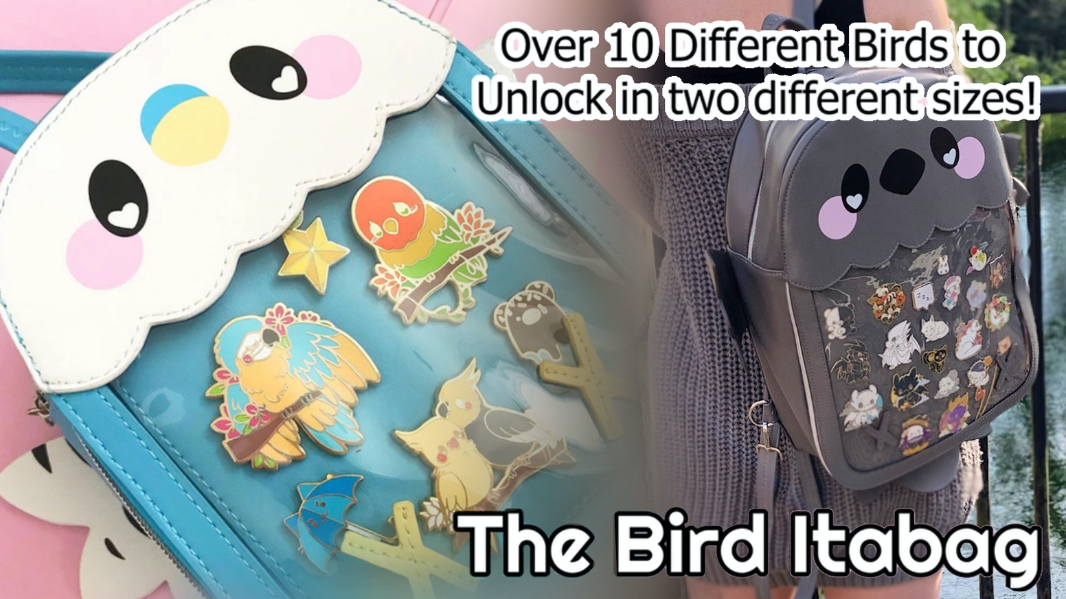 Ten kawaii birds to unlock in two different size bags - with space to display your beloved pins and other belongings!