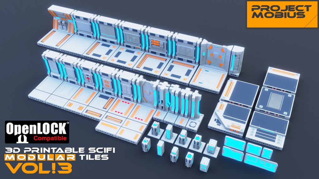 Project image for 3D Printable SciFi OpenLOCK Compatible Tiles for Gaming Vol3