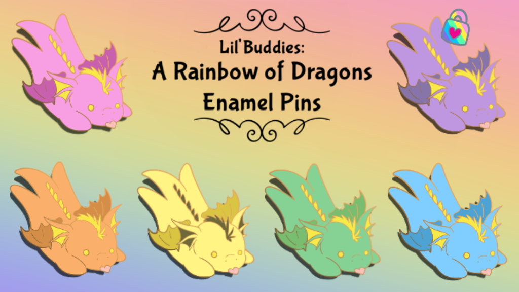 Cute baby dragon enamel pins in a rainbow of colors!
