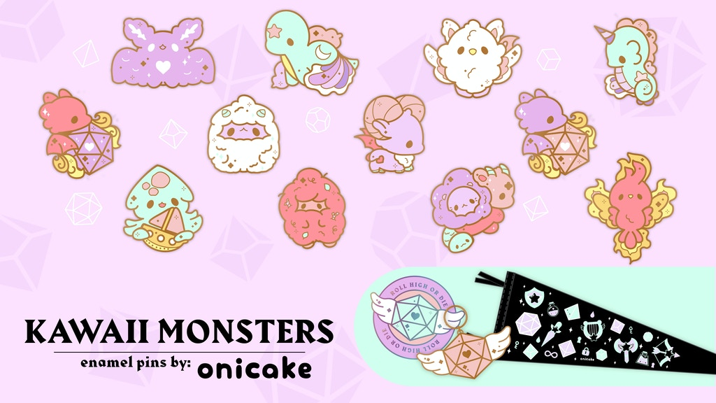 Kawaii Monsters Enamel pins and small accessories by OniCake