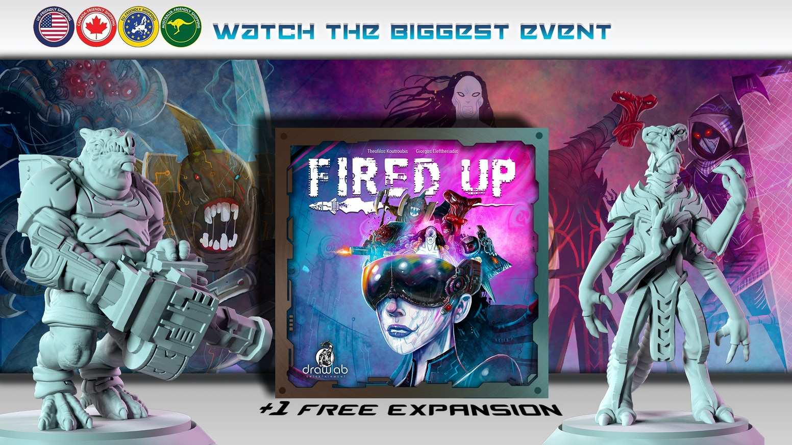 Join a cyberpunk universe and play as the audience. Win points with your secret objectives. A free expansion and Game Trayz included.