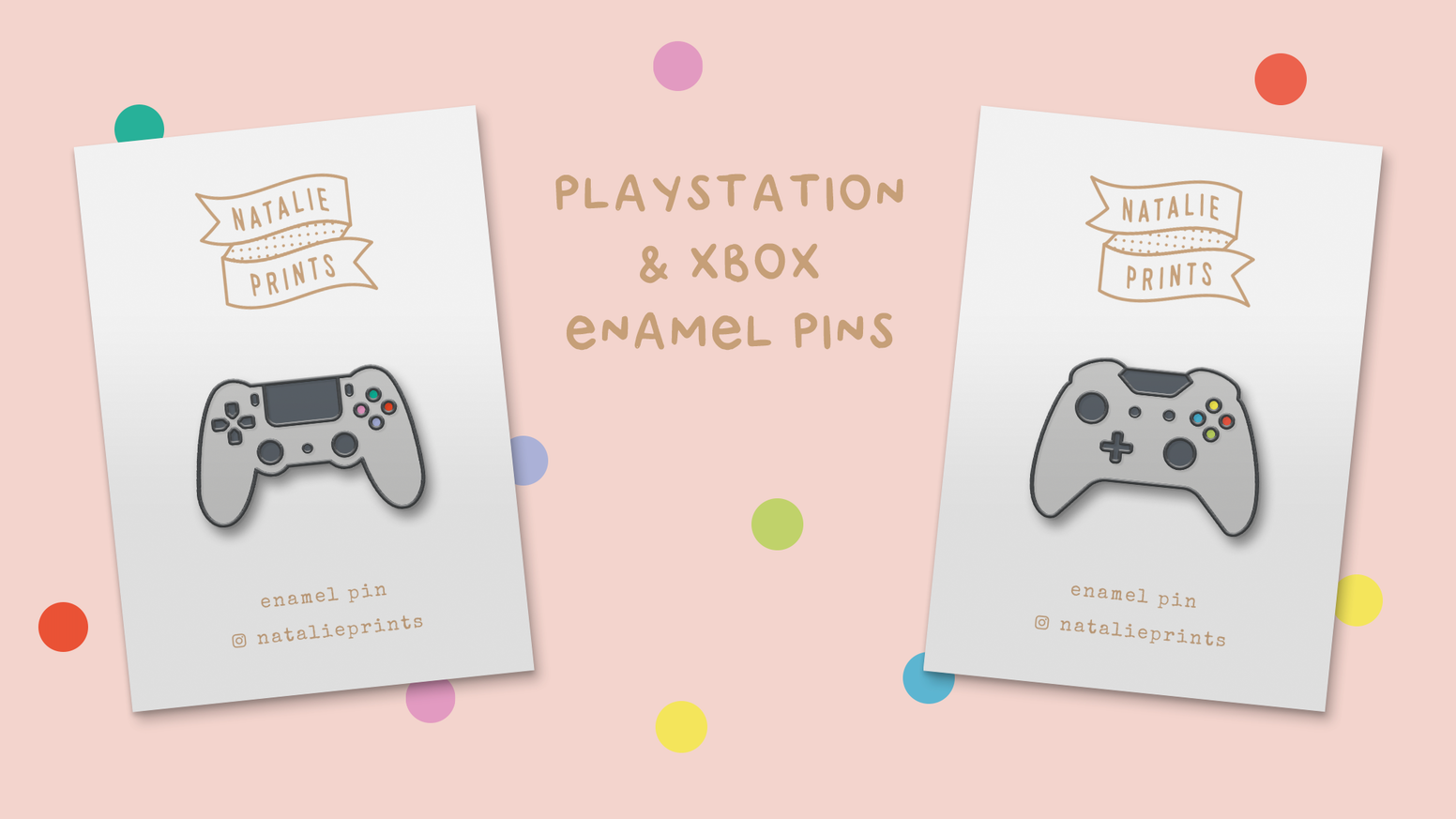 PlayStation & XBOX Controller Enamel Pins by Natalie Prints