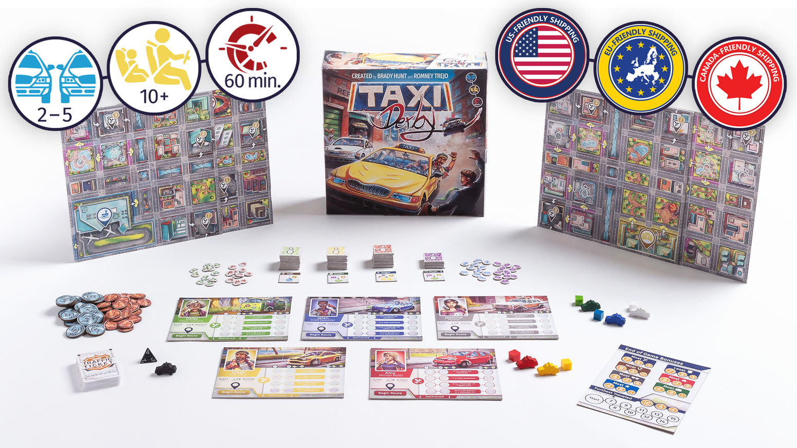 Race to pick up and deliver passengers without pushing your luck too much in this 60-minute board game for 1-5 players.