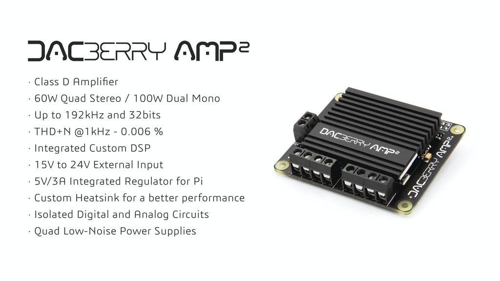 Project image for DACBerry AMP² - 4Ch x 60W 192Khz Class-D Amplifier