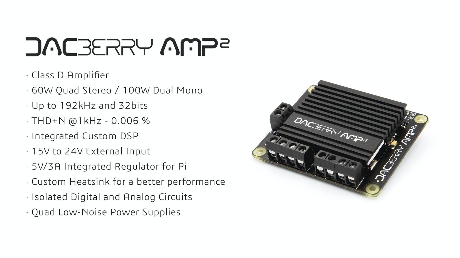 High End Audio Amplifier board with up to 100W per channel in dual mono. For Raspberry Pi, compatible with Asus Tinker board and others