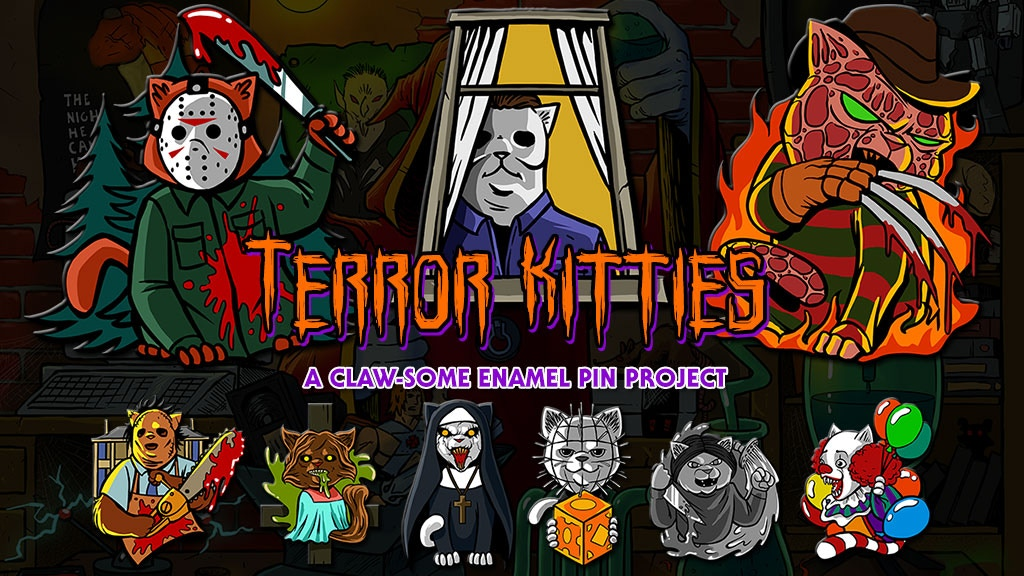 Terror Kitties Horror Movie Cat Enamel Pins project video thumbnail