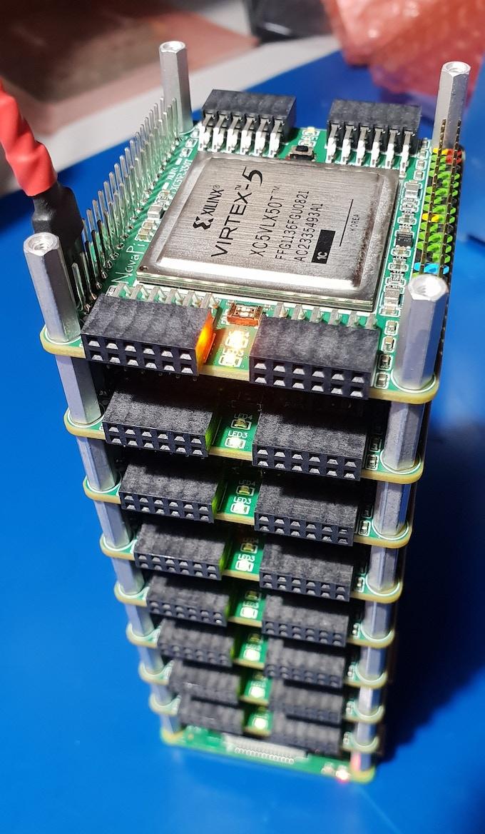 NovaPi NP01 - a stackable Virtex-5 FPGA hat for Raspberry Pi