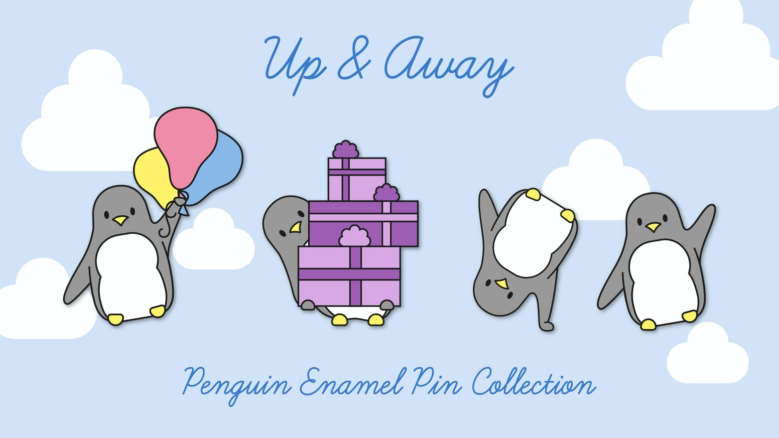 Penguin is cartwheeling, dancing, floating away on a balloon and even getting ready for Christmas, in this collection of enamel pins.