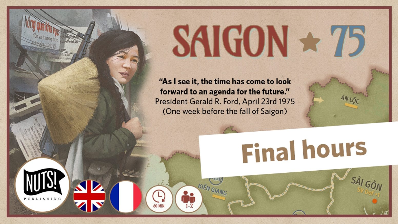 Relive the fratricidal struggle between North and South Vietnam from the Summer of 1973 to Spring 1975. 1/2 players - 60 minutes - 14+.