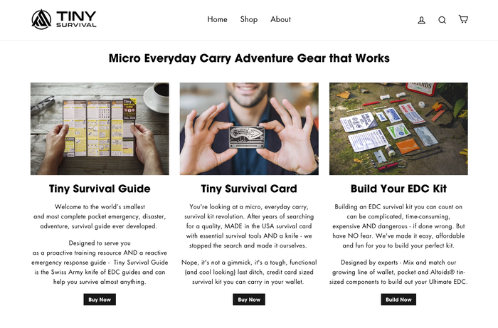Build Your Ultimate (EDC) Everyday Carry  Emergency, Survival Kit @ TinySurvival.com Check Out Our NEW Line of Pre-Made Pocket Survival Kits and Bulk Discount Packs of Tiny Survival Guides and Tiny Survival Cards.