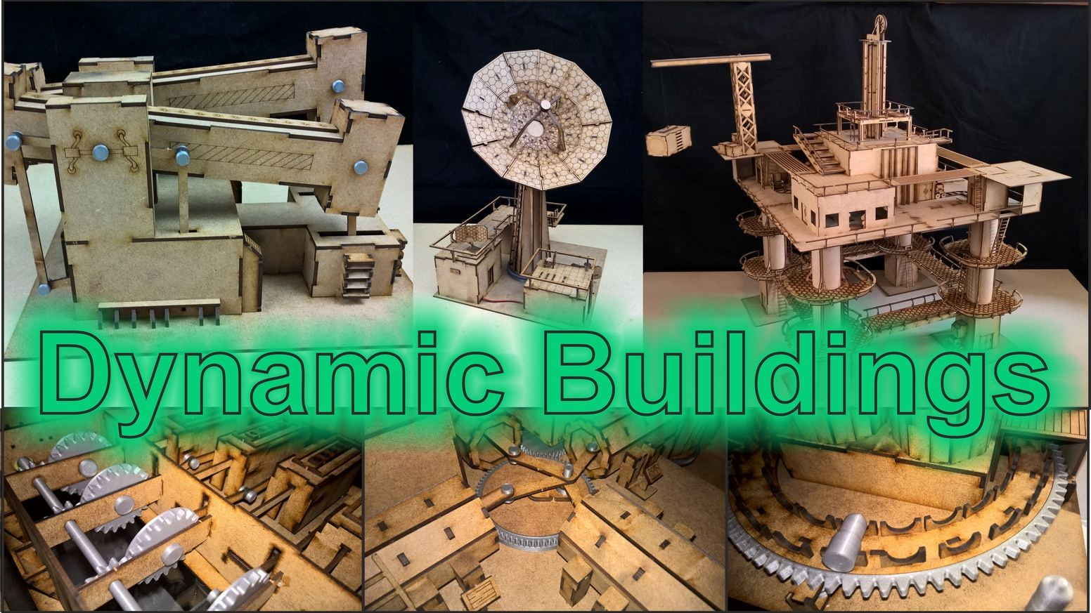 A set of 28mm wargame buildings all featuring movement, battery powered programable wargame buildings.