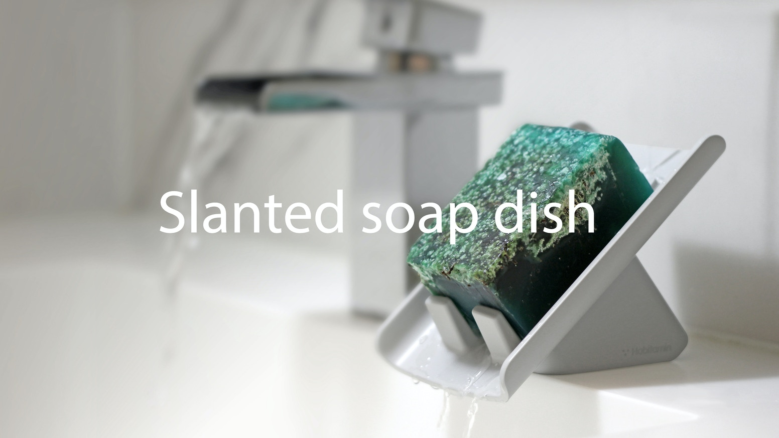 Waterfall, slanted soap saver drains water into a sink perfectly, dries a soap fast, and keep the bathroom and sink area clean.