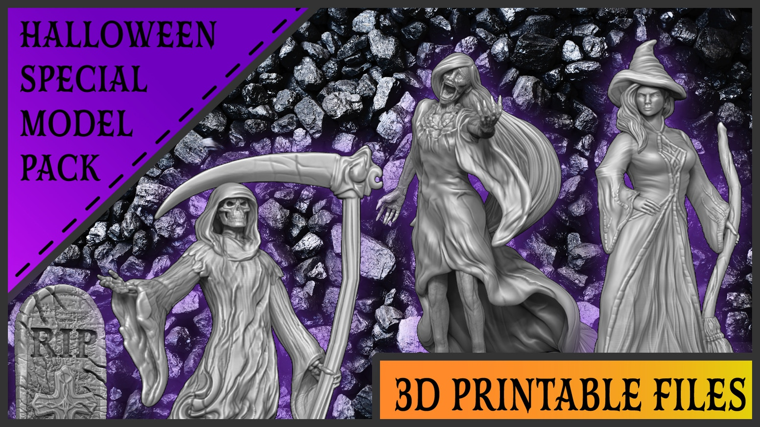 Spooky 3D printable tabletop miniatures for resin and FDM 3D printing.