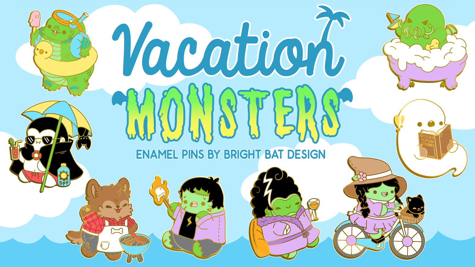 A set of enamel pins featuring kawaii monsters taking a break from being spooky to relax and have fun!