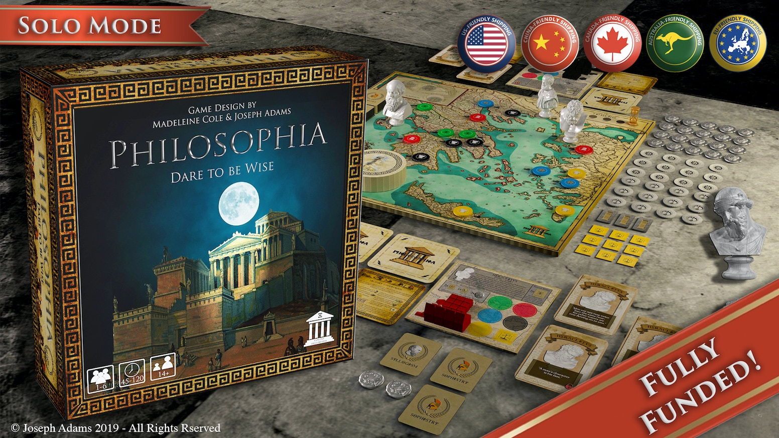 An epic, odyssey, sandbox adventure for 1 to 6 players. Dare to be wise in this unique tabletop experience. LATE PLEDGE AVAILABLE! Visit www.philosophiagame.com to get your copy.