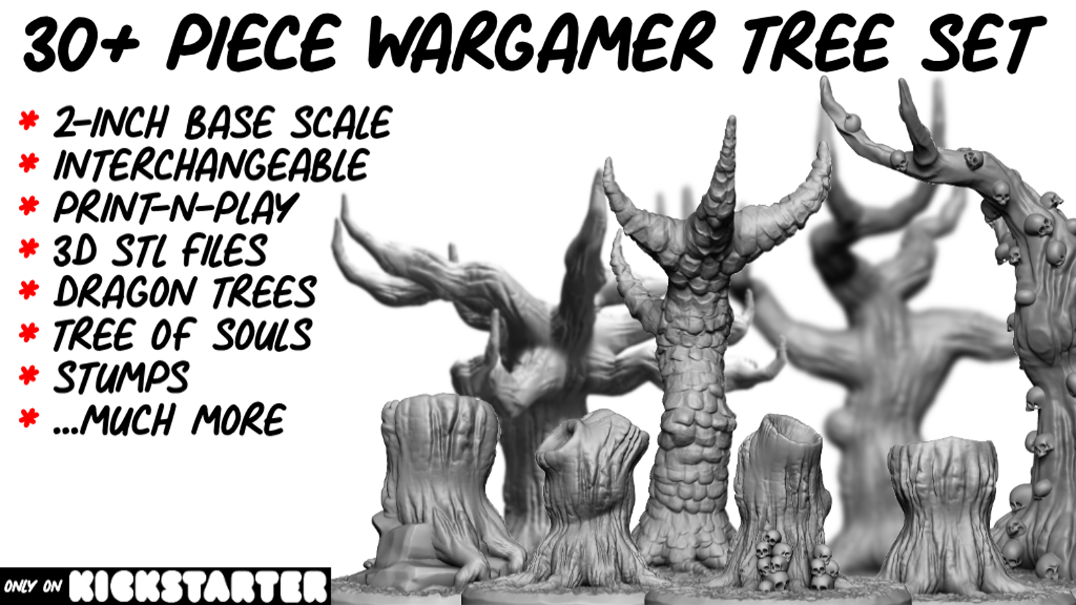 High-quality STL Wargamer trees for 3D printing...useable in all role-playing games.