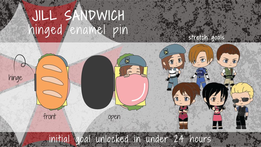 Project image for Jill Sandwich Hinged Enamel Pin (Canceled)
