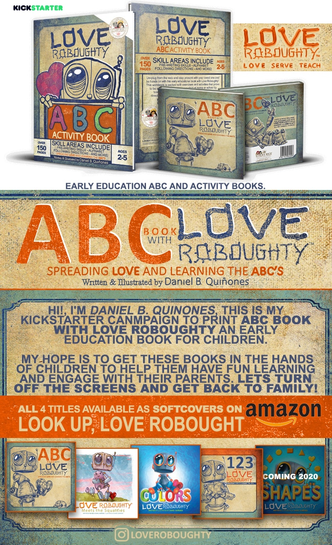 Love Roboughty early education ABC and activity books.