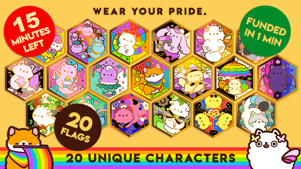Featuring 20 pride-flags and adorable animal characters.