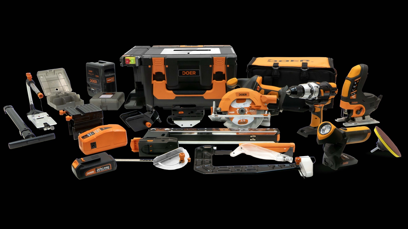 A 12-in-1 multi-purpose toolbox that transforms handheld tools into benchtop tools in seconds.