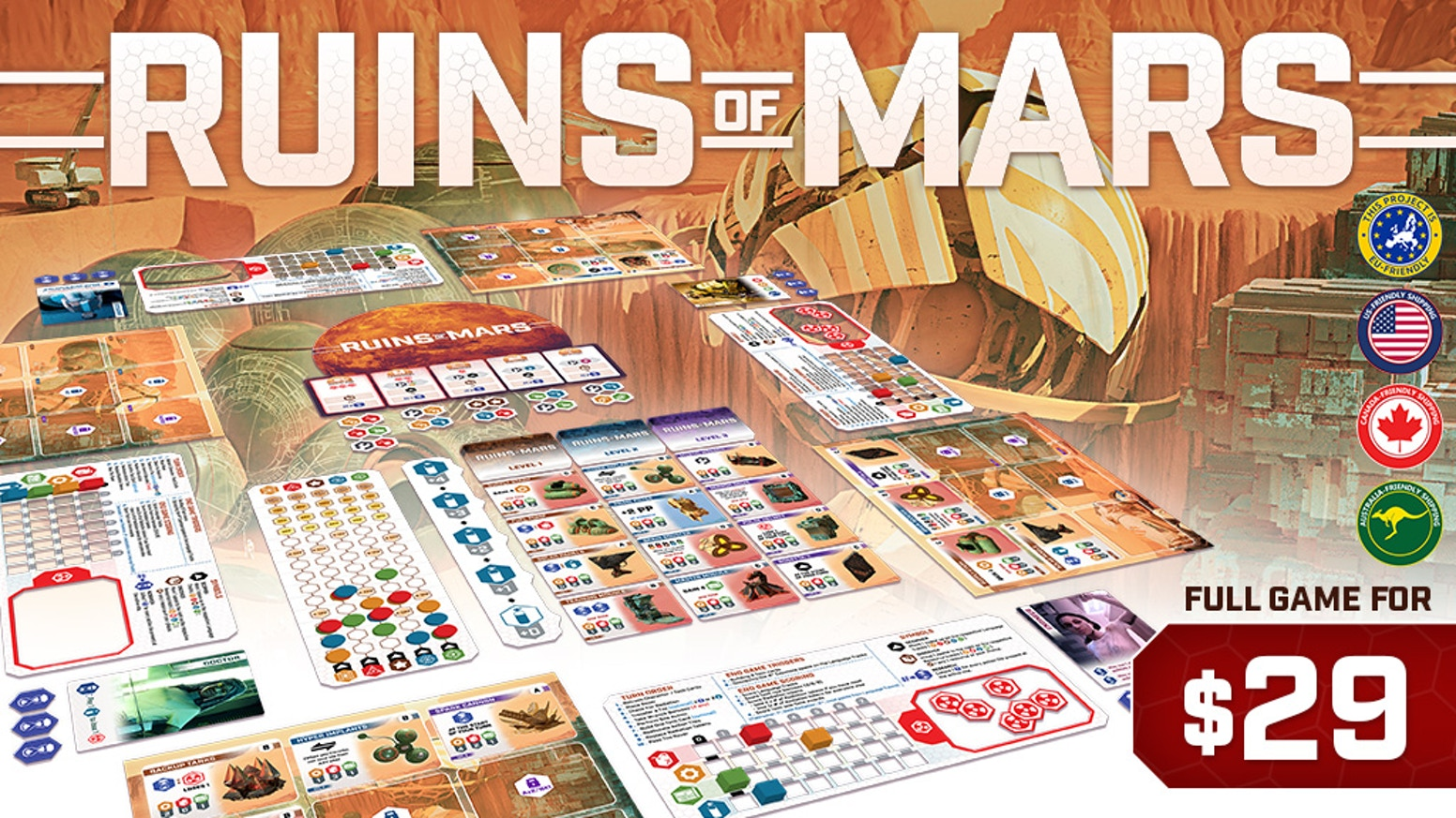 Ruins of Mars is an action selection, engine builder with a unique shifting resource mechanism that makes each action vary turn-by-turn