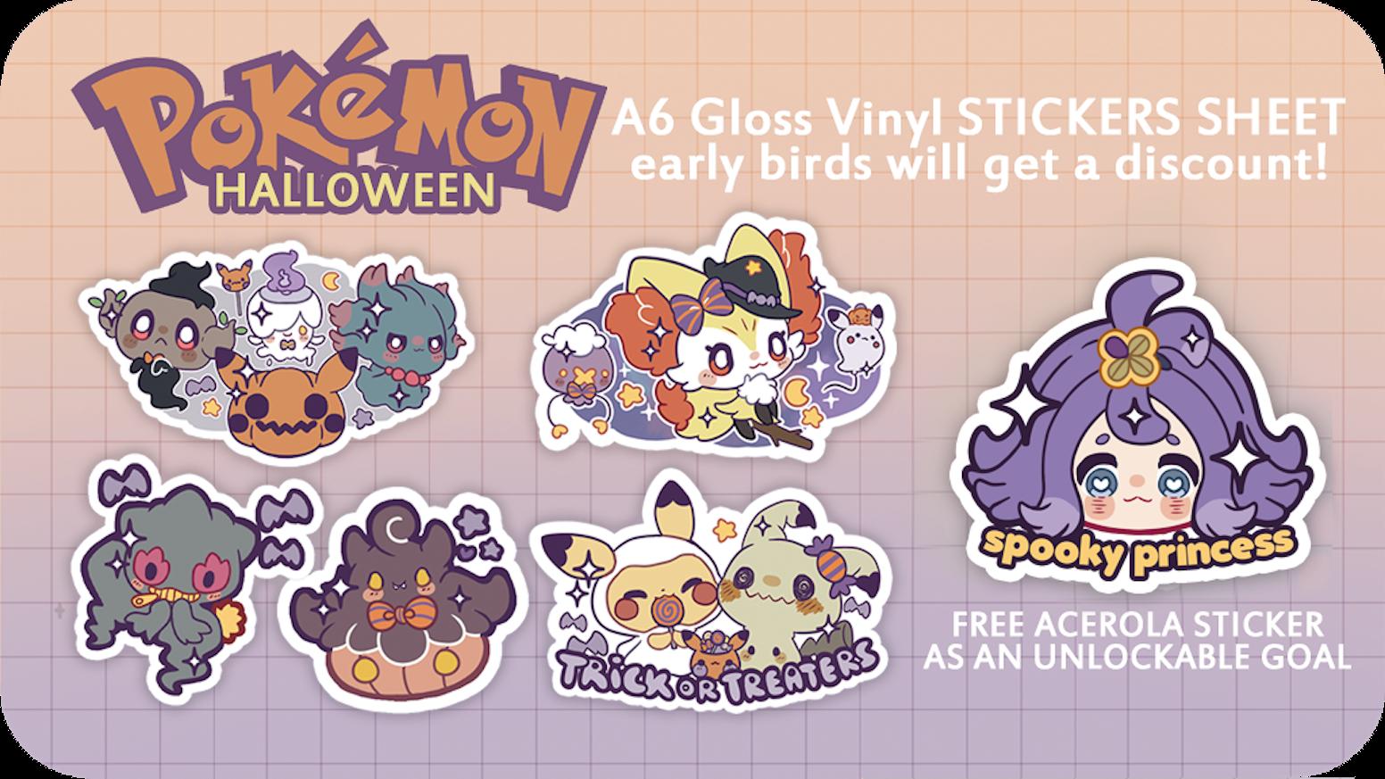 Stickers Pokemon.Pokemon Halloween Stickers Sheet By Potaaties