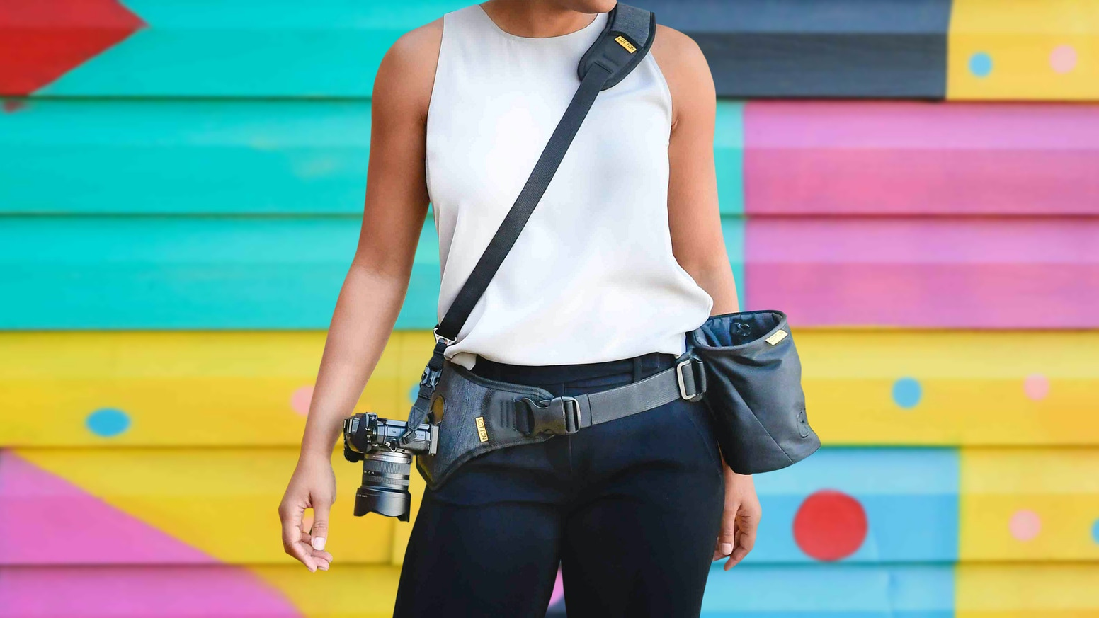 The Cotton Carrier SlingBelt and Lens Bucket for carrying your camera and some extra gear.