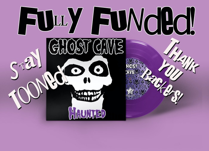 "7"" record of ""Grim Grinning Ghosts"", b/w ""We Are Ready To Believe You (ATOM's Stay Puft Mix) feat Tribe One & Supercrunk"