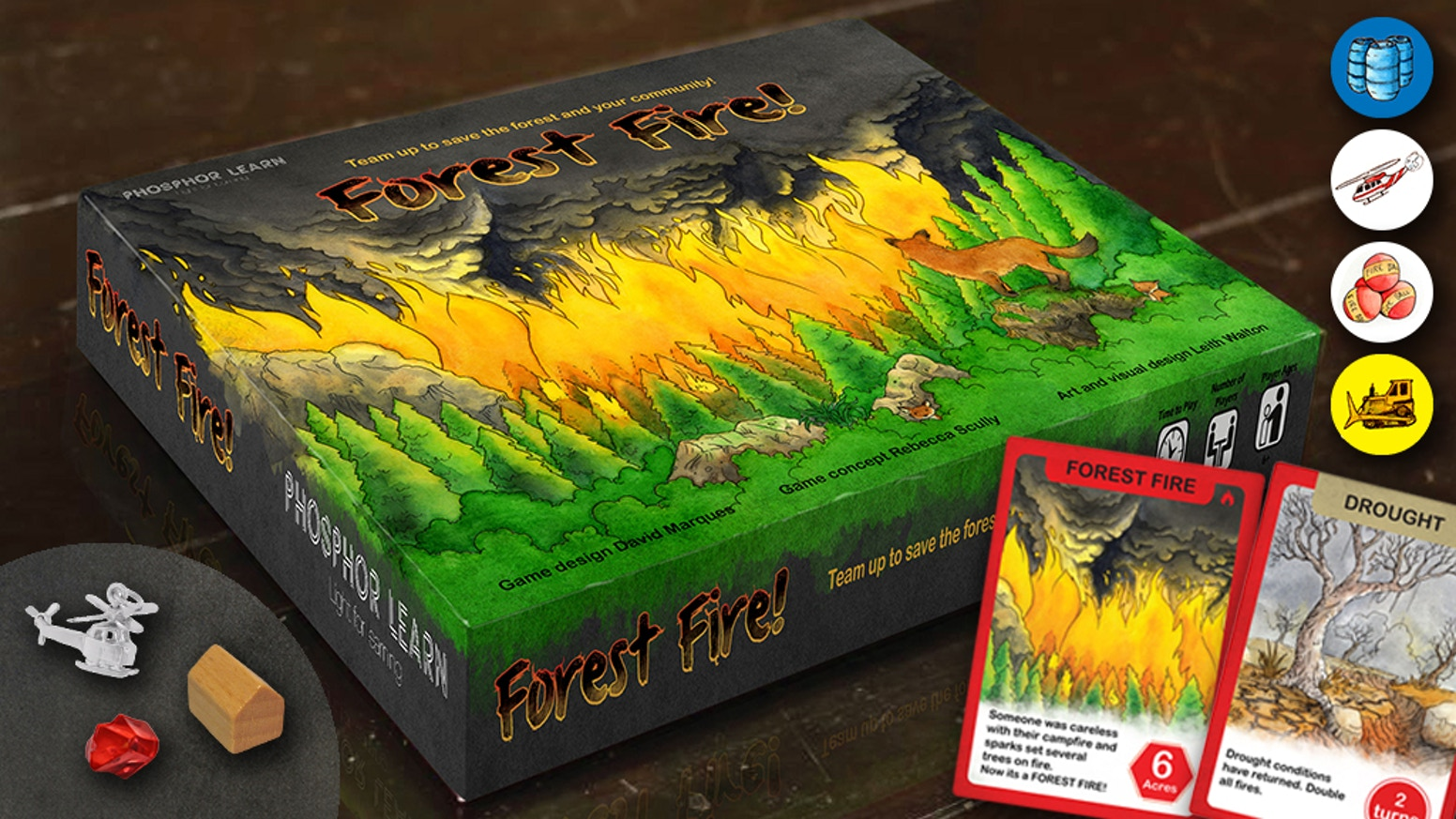 Funded! A cooperative family game for 1-5 players ages 8+ fighting forest fires, saving homes, schools. Wind, drought, bulldozers, helicopters.