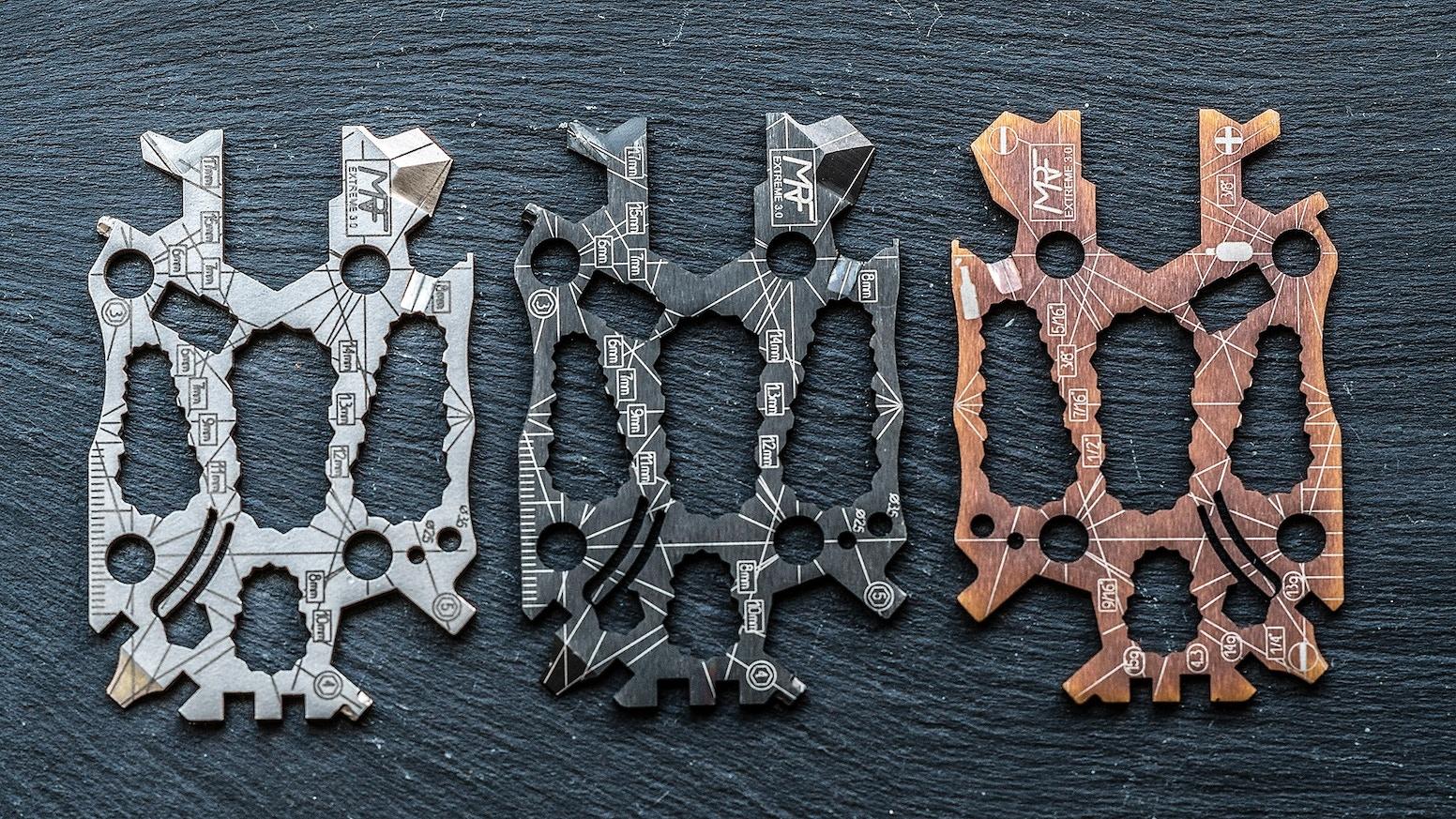 50+ tools in 1.Titanium credit card size multi tool. EDC for bike, hiking, snowboard, skateboard, outdoors, photographer,DIY