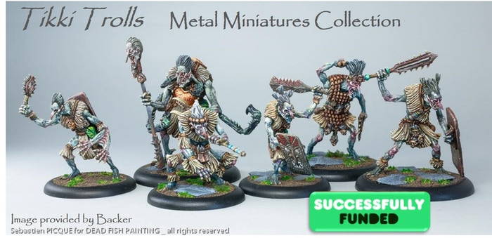 "Completed five ""old school"" troll miniatures (28mm scale & 100% metal) standing from 38mm to 49mm tall"