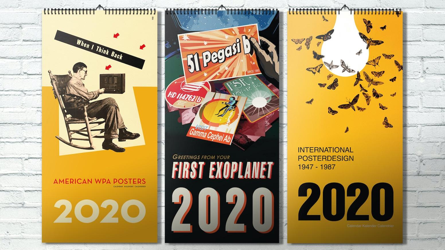 2020.  THE NASA EXOPLANET CALENDAR +++ POSTERDESIGN CALENDAR WITH SAUL BASS, ROBERT INDIANA AND OTHERS +++ WPA POSTER CALENDAR +++