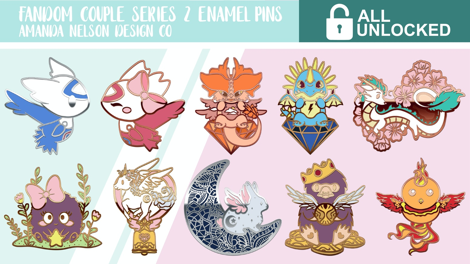 A set of enamel pins inspired by fandom couples
