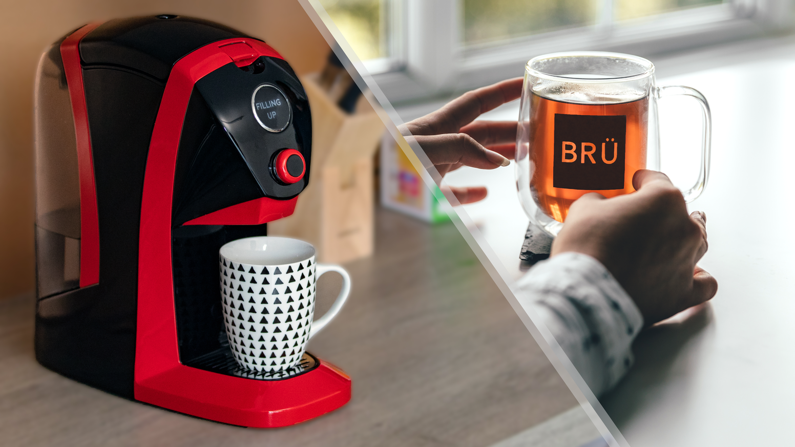 BRÜ makes the perfect cup of tea at the push of a button. Use ANY tea. Set temperature, cup size & brew time. Saving you time & energy.