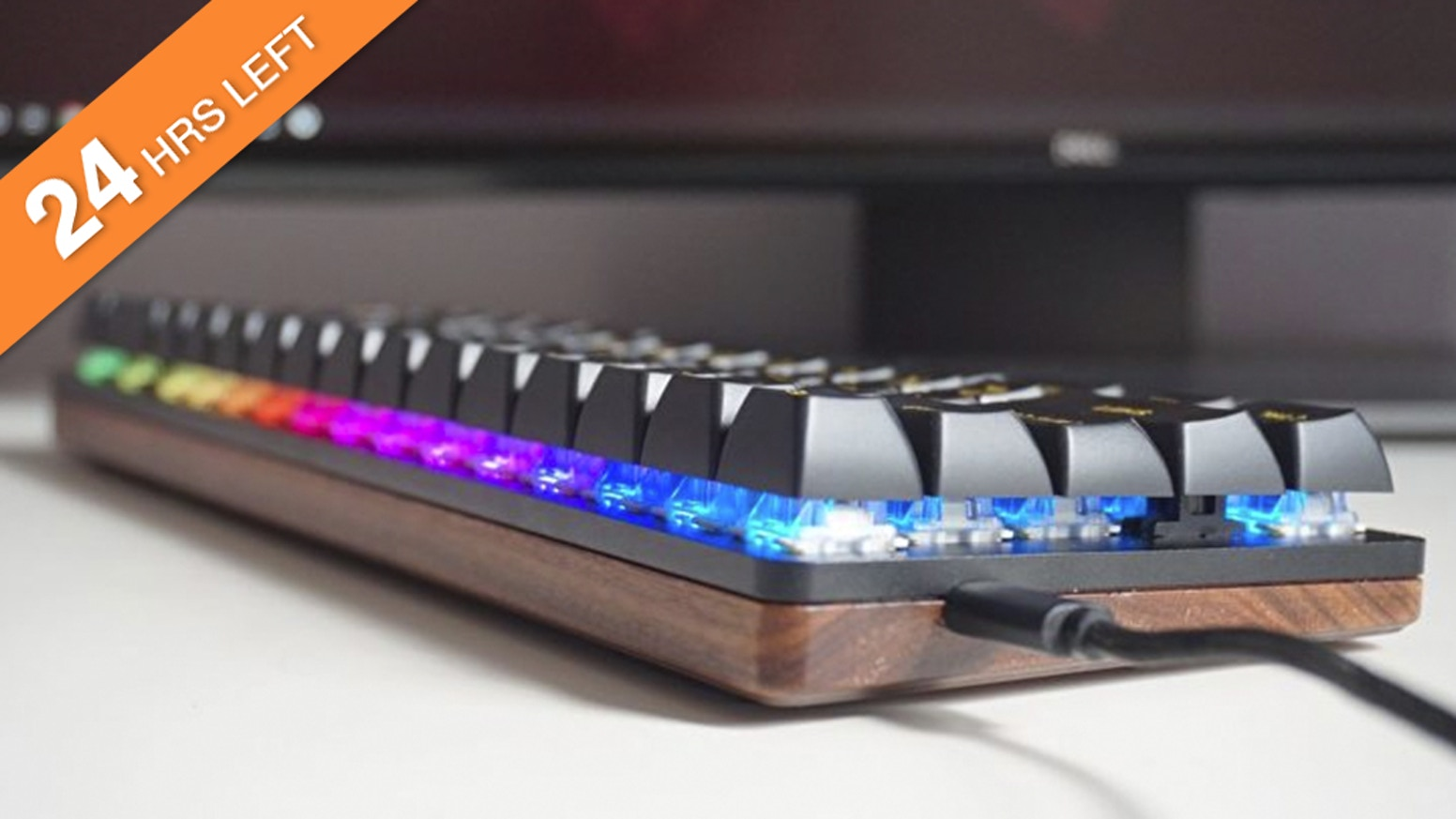 Solid Wood Base |  Ergonomic Design | Hot Swappable Gateron Switches | Mac&Win&Linux | RGB Backlighting | Connects Up To Three Devices