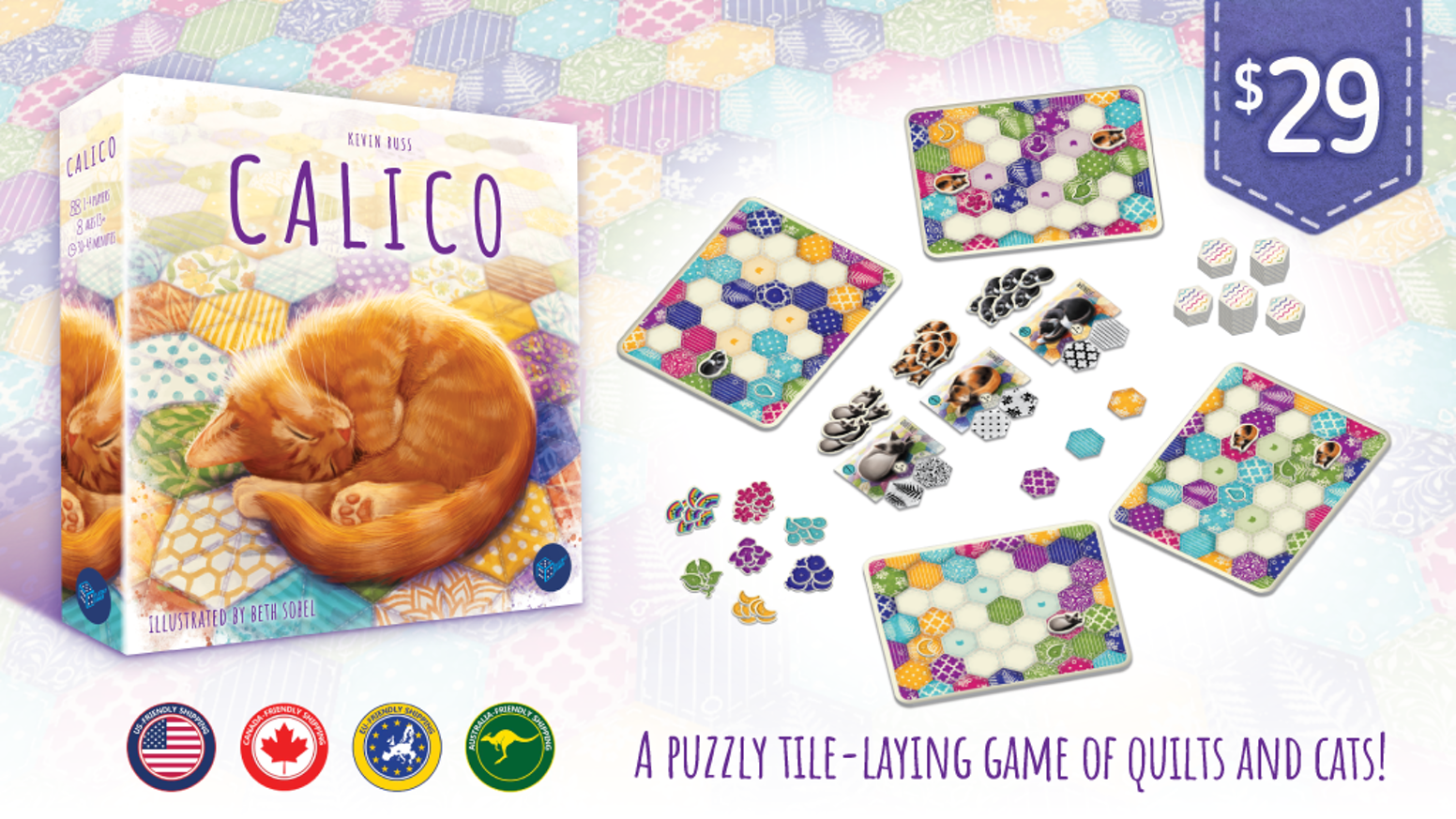 A puzzly tile-laying game of quilts and cats with gorgeous artwork by Beth Sobel!