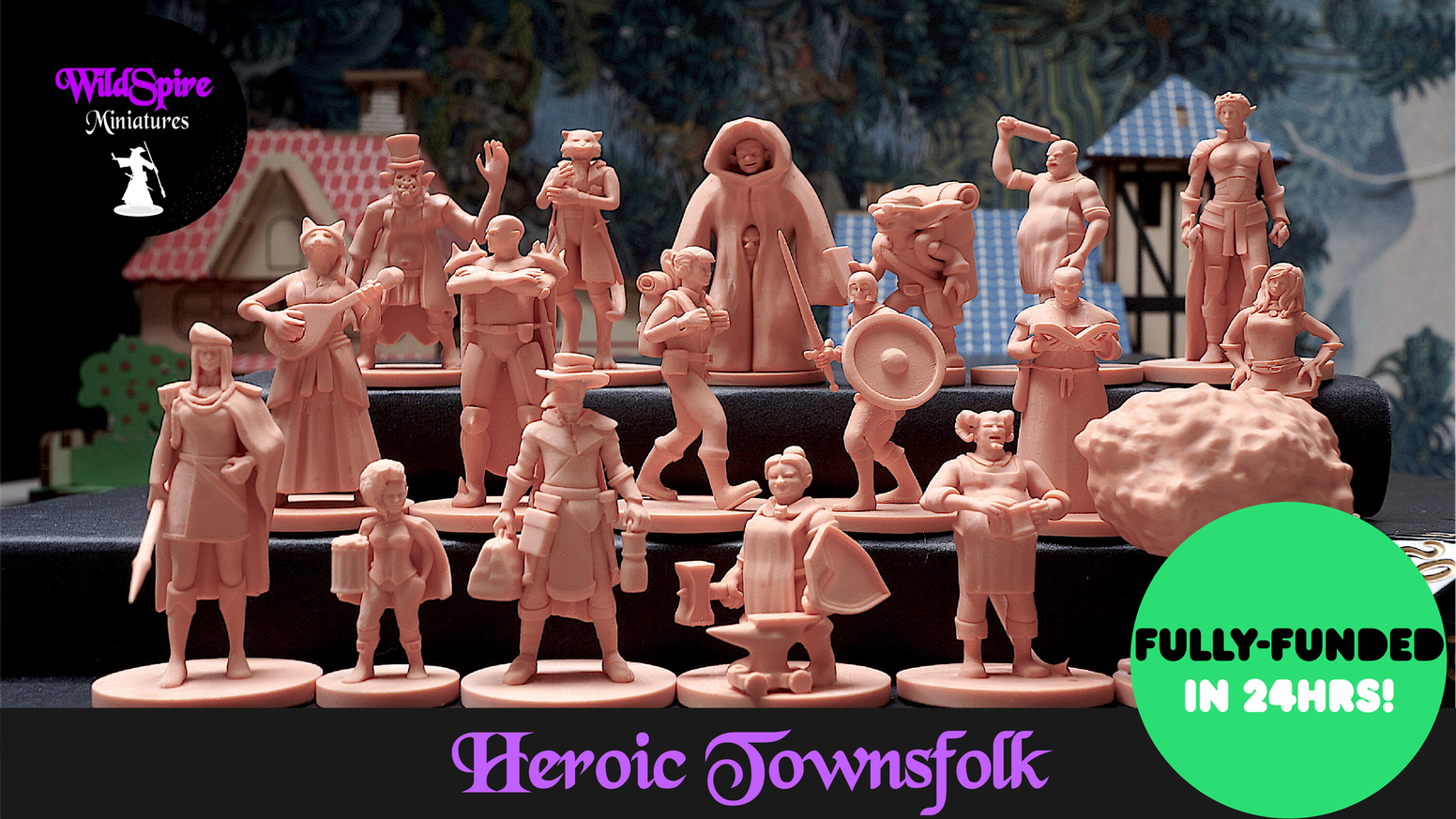 Set of 18 Unique Townsfolk Miniatures 28mm cast of high-quality plastic for DnD, Pathfinder & other Fantasy Tabletop Role Playing Games