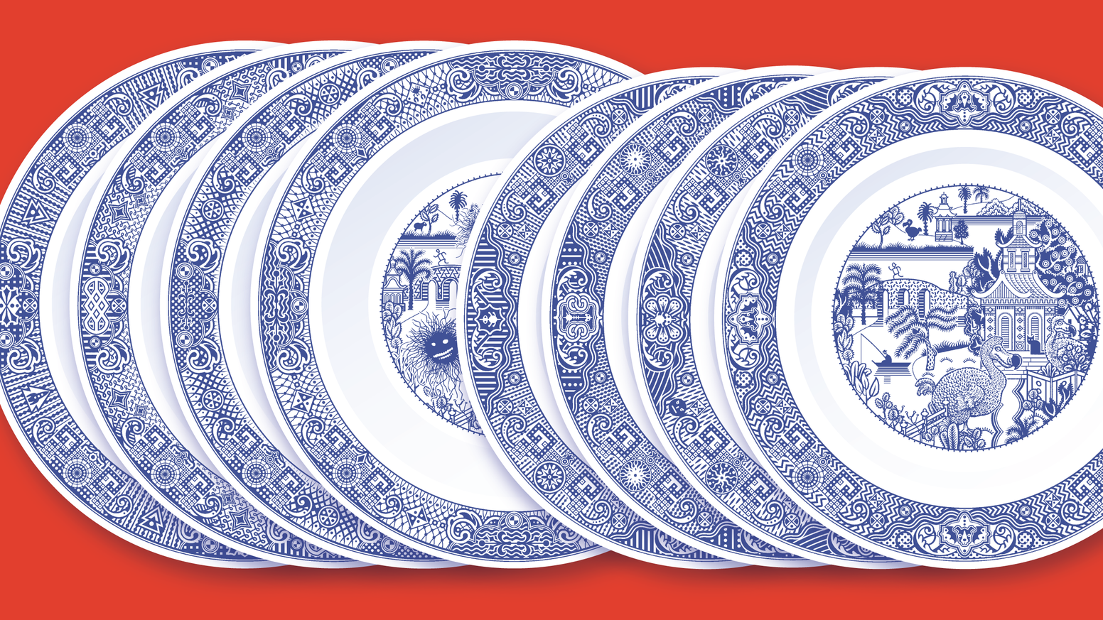Porcelain bowls and small plates with eight unexpected misfortunes.