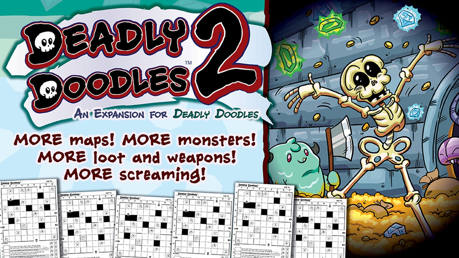 Expanding Deadly Doodles with new boards, new mechanics, and more wacky dungeon crawling fun!