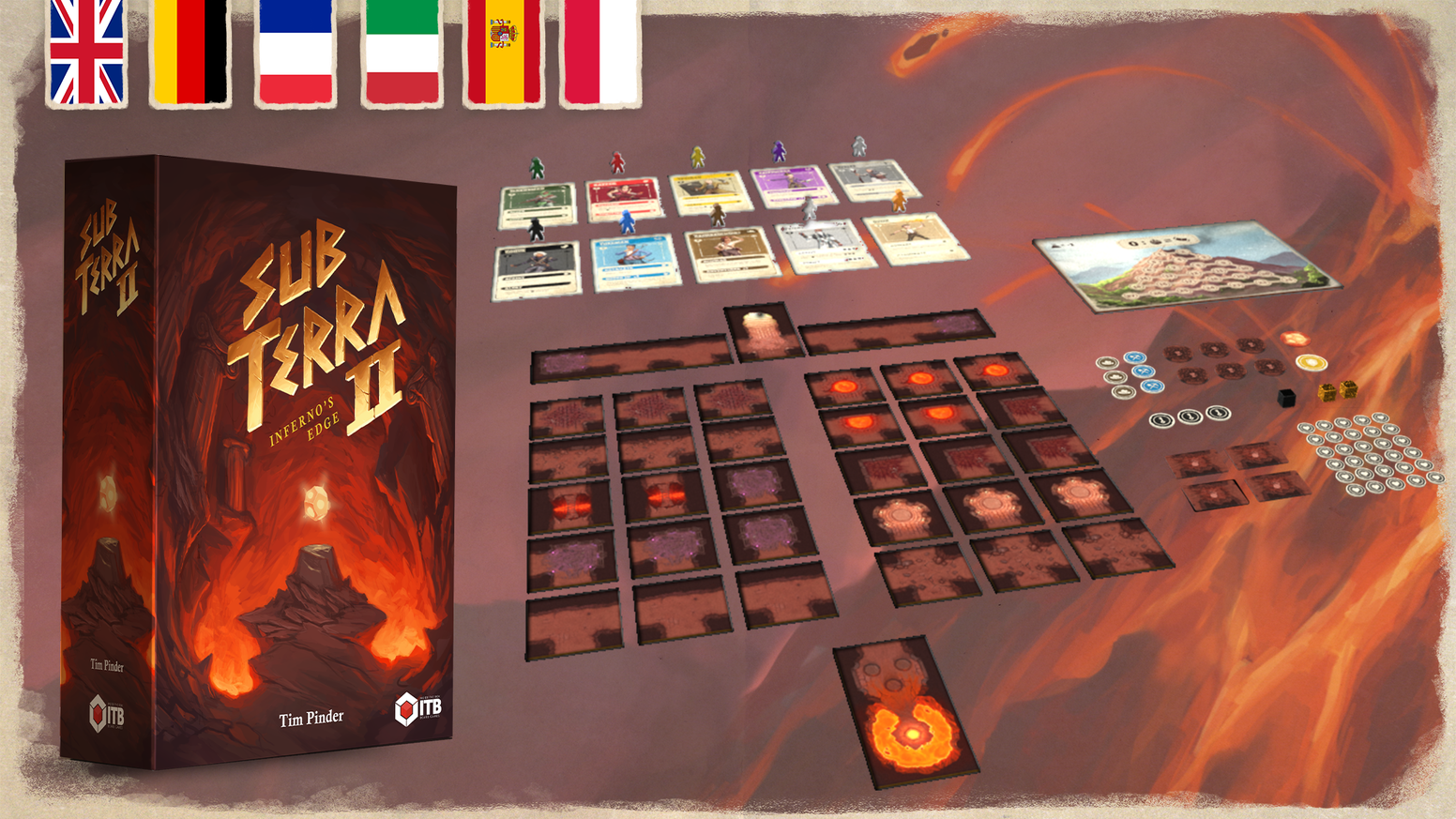 A cooperative adventure board game for 1-6 players. Explore the temple, grab the artifact, and escape before the volcano wakes!