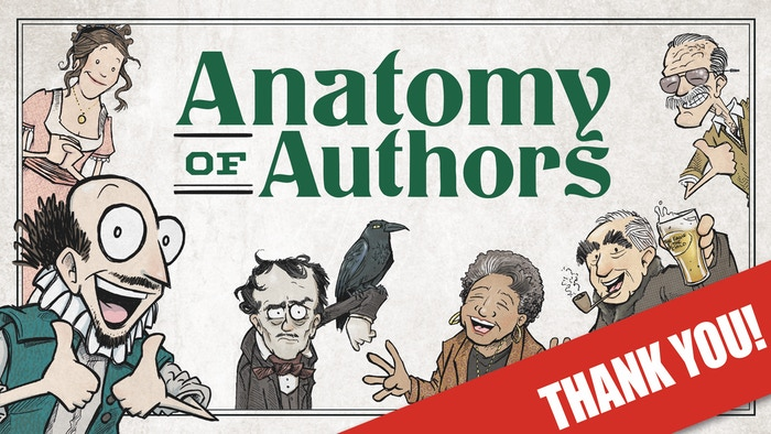 Classy hardcover collection of comics, featuring all the (made up) facts you need about your favorite authors!
