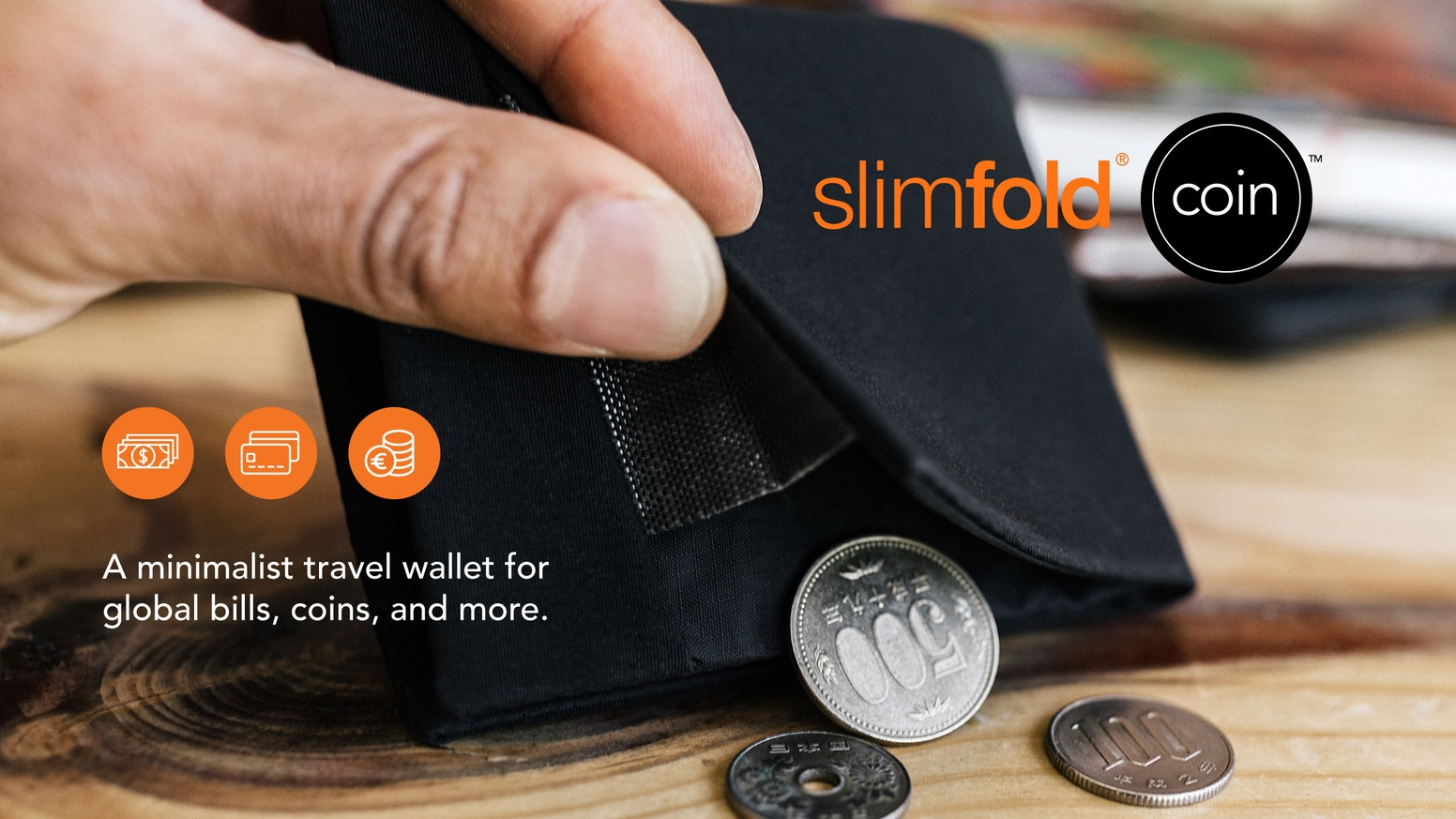 A minimalist travel wallet for global bills, coins, and one more thing