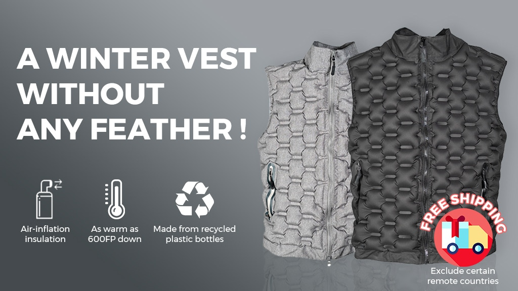 Zero Down Vest - warming up with air and recycled bottles