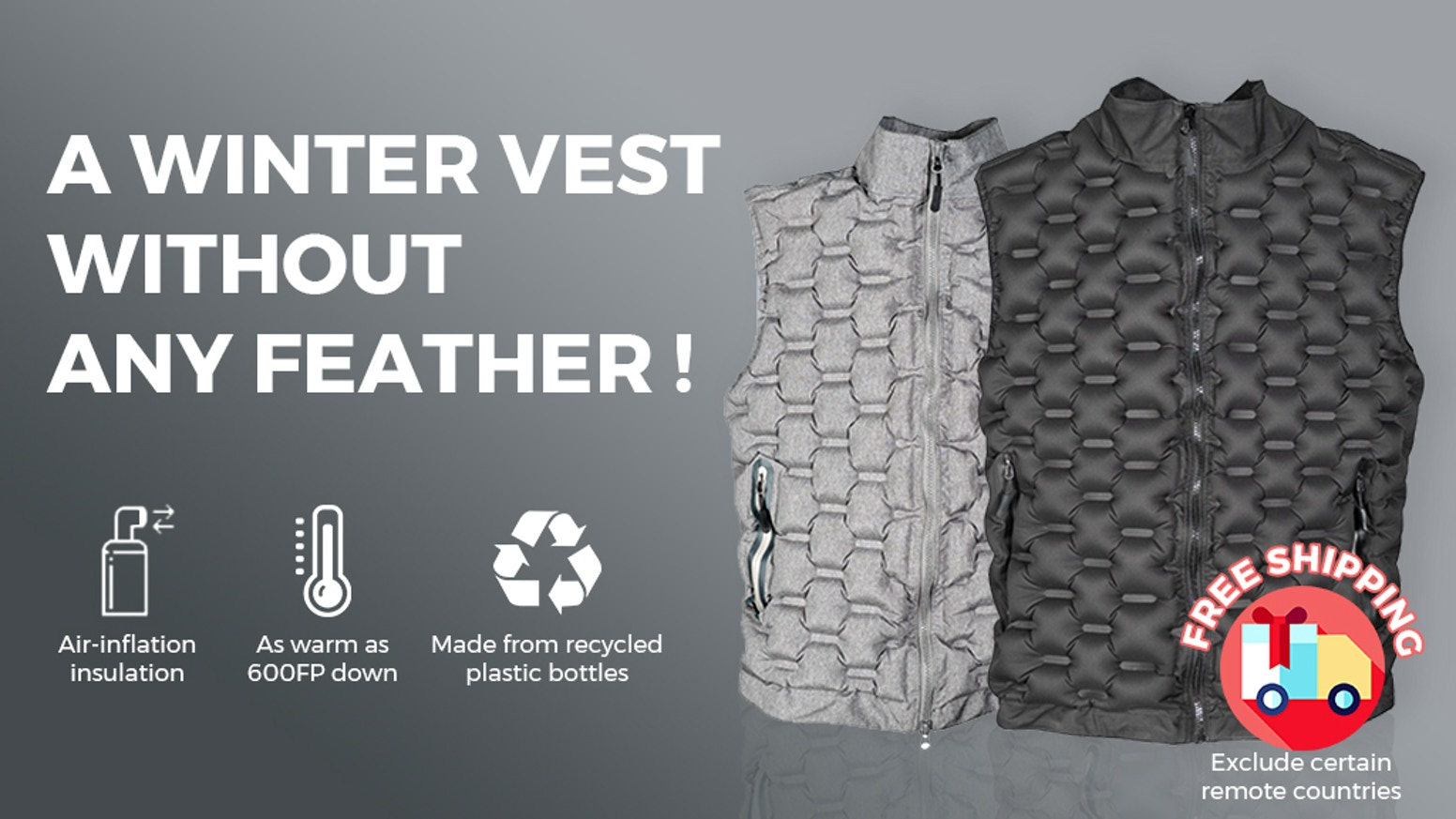 A vest that lets wearers control their level of warmth by replacing traditional down with inflatable air chambers.