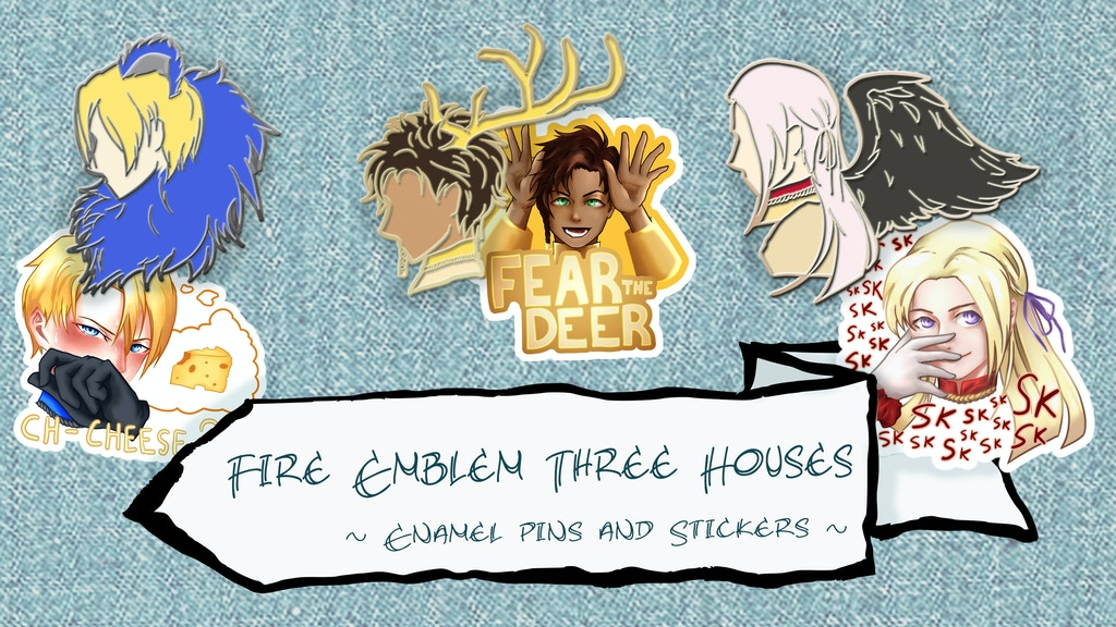 Project image for Fire Emblem Three Houses Enamel Pins + Stickers